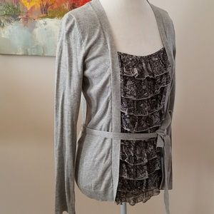 Apt9 soft gray cardigan and ruffled faux shell